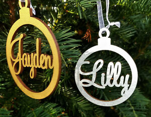 Personalised wooden name bauble  tree ornament gold or silver