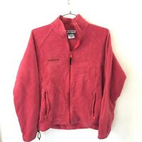 Columbia Large Fleece Jacket Pink Womens Zip Up Long Sleeve Fuzzy Warm Winter