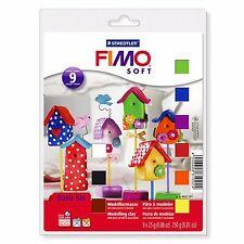 Fimo Soft Basic Set - 9 x 25g Clays, Modelling Tool, Varnish and Modelling Mat