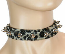 Spike Gothic Choker Brown Leopard Colllar Punk Goth Rockabilly Thrash Metal