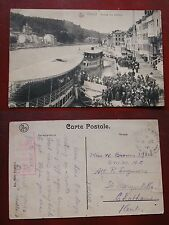 CARTOLINA CARTE POSTALE DINANT ARRIVÉE DES BATEAUX 1918 NAVE BATTELLO BOAT