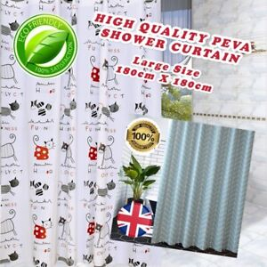 Bathroom Shower Curtain High Quality Waterproof Anti Mould 12 Rings and Hooks UK