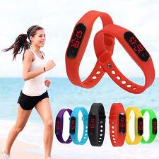 Kids Mens Women LED Watch Jelly Silicone Digital Sports Wrist Watches Bracelet