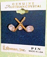 Vintage Genuine Austrian Crystal Pin by Roman, Inc~ #15755 ~ Made in USA ~unworn