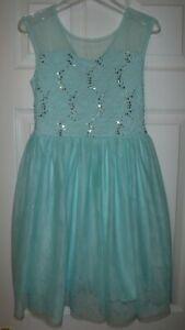 Speechless Girls Teal Green Lace Sequins Dance Ballerina Party Dress sz 10
