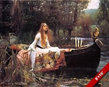 THE LADY OF SHALOTT IN BOAT ALFRED TENNYSON POEM PAINTING ART REAL CANVAS PRINT