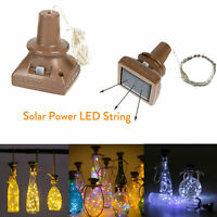 Solar Powered Wine Bottle Lights 10 20 LED Copper Cork Shaped Light For Wedding