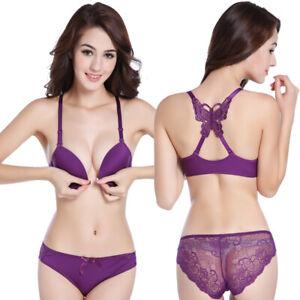 Sexy Front Closure Bra Briefs Lace Gather Lingerie Push Up Bra Sets Underwear