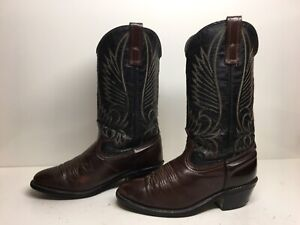 WOMENS UNBRANDED COWBOY LEATHER DARK BROWN BOOTS SIZE 6.5 D