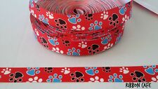 Paws Pawprints on Red 22mm wide printed grosgrain ribbon 2 METRES
