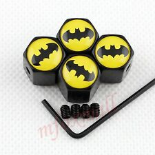 4X Motor Car Accessories Air Wheel Tyre Tire Valve Caps Cover Batman Badge Style