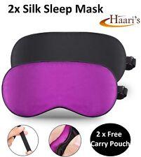 2x Silk EYE Masks Sleep Mask Mulberry Silk Blindfold Men Women Unisex