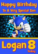 SONIC THE HEDGEHOG PERSONALISED BIRTHDAY CARD - ANY NAME AGE RELATION