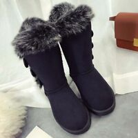 Women's Fleece Lined High Boots Fur Button Winter Thick Snow Shoes Warm Boots