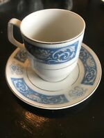 England Wood And Sons Alpine White Blue Saucer & Tea Cup Set - 1967 - Iron Stone