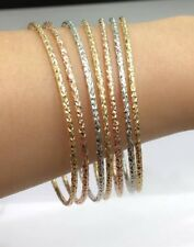 18k Solid Multi Tones Gold 7 Pieces Set Round Bangle Diamond Cut. 64mm. 18.40 Gr