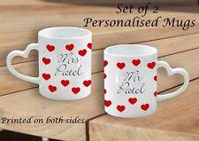 Set di 2 Tazze personalizzata tazze Mr e Mrs wedding Engagement cuore punto di manipolazione