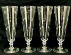 """Set of 4 Vintage Etched Atomic Starburst 10oz Footed Pilsner Beer Glasses 8-1/4"""""""