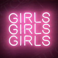 """GIRLS GIRLS GIRLS"" Neon Sign Pink Light Dorm Wall Windows Nightclub Party Beer"