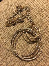 "Grandmas Estate Necklace 24"" Mixed Metal Hoops Necklace (tx)"