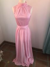 Vintage Pink Polyester Maxi Dress Applique Lace Small