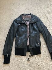 $900 RARE Mackage Black Leather Rib Trimmed Bomber Jacket XS