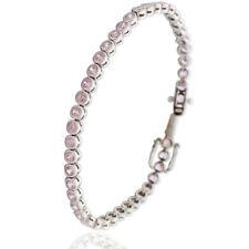 Bracciale tennis cipollina mm 4 in argento 925 rodiato con zirconi rosa cm 19