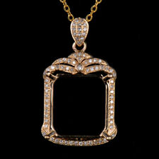 Natural Diamond Semi Mount Pendant Settings Emerald Cut 13×12mm 14K Yellow Gold
