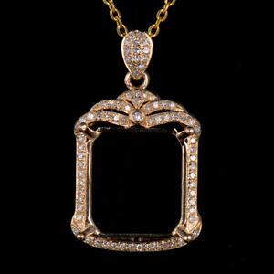 Emerald Cut 13×12mm Semi Mount Pendant Natural Diamond Solid 14K Yellow Gold