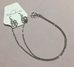 """Silver Clover Leaf Charm Necklace Earrings Set, 18"""" Long Hypoallergenic!"""