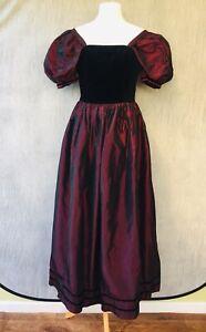 Laura Ashley Vtg Ireland Gothic Dress 10 8 6 Steampunk Medieval Velvet N11