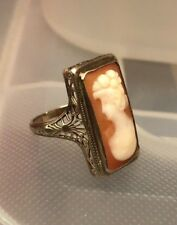 Antique 14K White Gold Cameo Filigree Ring Size 6