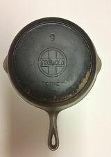 """REDUCED! #9 Slanted Griswold """"ERIE"""" 710-C Skillet, Inset Heat Ring, Fifth Series"""