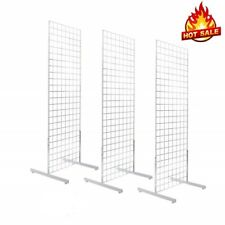 Display Grid Rack 3 Pack 6 Ft White Panel Retail Metal Stand Store Art Organizer