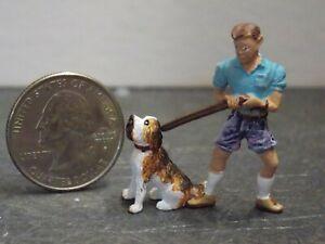 Dollhouse Miniature Dog & Man Animals A17 1:48 Quarter Scale Dollys Gallery