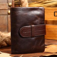 Mens Bifold Wallet Coin Purse Card Holder Genuine Leather Short Vintage