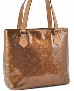 Authentic Louis Vuitton Vernis Houston Shoulder Hand Bag Beige LV B2357