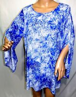 Cocomo Woman Plus Size 1x 2x 3x Blue White Floral Tie Dye Tunic Top Blouse Shirt