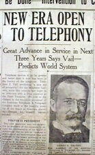 1919 display newspaper INVENTION of WIRELESS TELEPHONE w World Wide connections