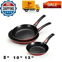 Everyday Tramontina Non-Stick Red Frying Pans, 3 Piece  8 in, 10 in and 12 in