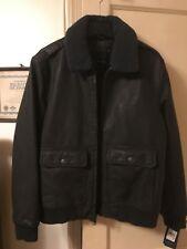 Tommy Hilfiger Marrón oscuro piel falsa aviador Bomber chaqueta vuelo mediano