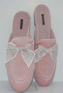Victoria's Secret Rhinestone Bow Slide Slides Slippers Velvet Pink Silver M 7-8