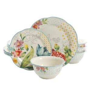 The Pioneer Woman Blooming Bouquet 12-Piece Dinnerware Set