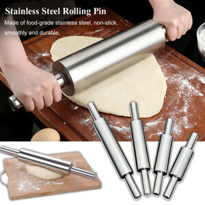 Stainless Steel Rolling Pin Non-stick Pastry Dough Roller Pie Making Kitchen New