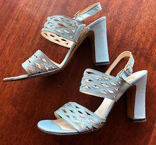 Vintage Women's Shoes Galliano 1960's Light Blue Sandals Size 6B