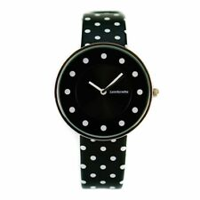 Lambretta Cielo Ladies Watch Black With White Dots and Leather Strap 2104BLA