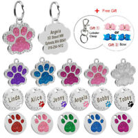 Personalised Dog Tags Engraved Disc Disk Pet Cat ID Name Collar Tag Paw Glitter