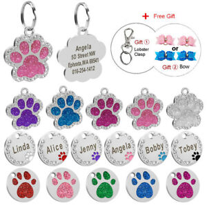 Bling Paw Glitter Dog Tags Engraved Personalized Disc Pet Cat ID Name Collar Tag
