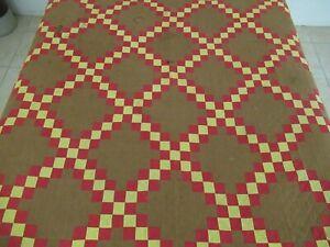 QUEEN Vintage 19th Century Turkey Red & Brown IRISH CHAIN Quilt, Sawtooth Border