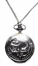 Full Metal Alchemist Silvertone Metal Pocket Watch With Chain